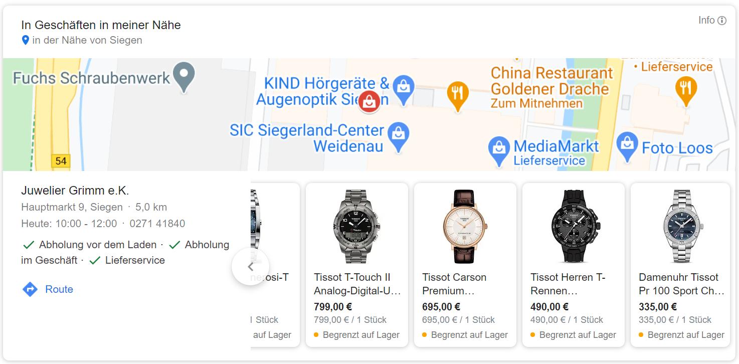 Google Local Inventory mit Uhren und Standorten von Juwelier Grimm